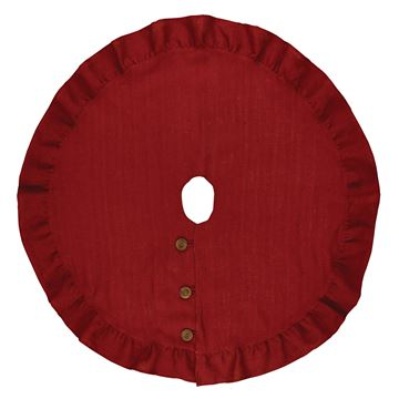 "Picture of Jute Burlap In Red Tree Skirt 60"" Diameter Round"