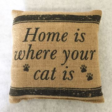 "Picture of Home Is Where Your Cat Is Mini Pillow 8"" X 8"""