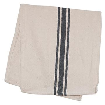 "Picture of Grain Sack Stripe In Gray Table Runner 56"" Long"