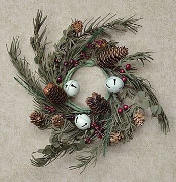 "Picture of Country Bell Pine Candle Ring / Wreath 3.5"" Inner Diameter"
