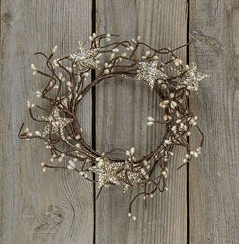 Picture of Pip Berry with Stars - Holiday Platinum Candle Ring / Wreath