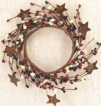 Picture of Pip Berry With Stars - Country Mix Candle Ring / Wreath