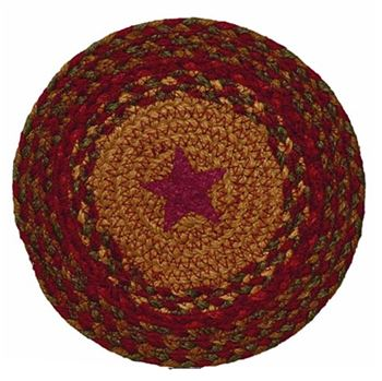 Picture of cinnamon Star Braided trivet Round
