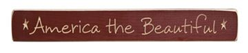 "Picture of America The Beautiful Sign - Engraved Wood 12"" Long"