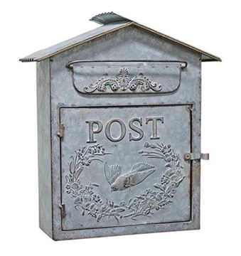 Picture of Galvanized Metal Birdhouse Post / Mailbox Vintage Inspired