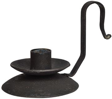 Picture of Black Iron Distressed Candle Holder For Taper