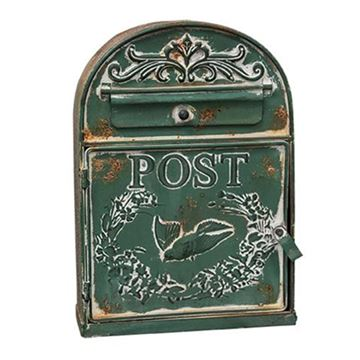 Picture of Green Painted Metal With Bird Post / Mailbox Vintage Inspired