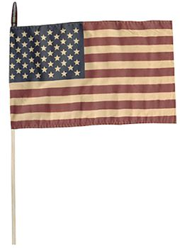 Picture of American - Primitive Tea Stained flag On A Stick