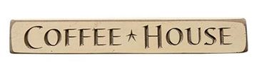 "Picture of Coffee House Sign - Engraved Wood 12"" Long"