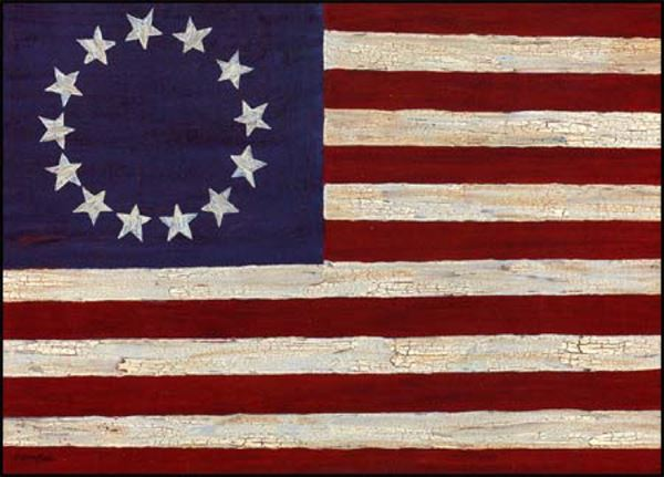 Picture of America Folk Flag By Gloria Bowlin Art Print - 5 X 7