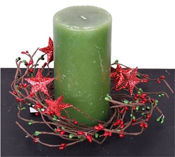 "Picture of Pip Berry with Stars - Holiday Red & Green Candle Ring / Wreath 3.5"" INner Diameter"