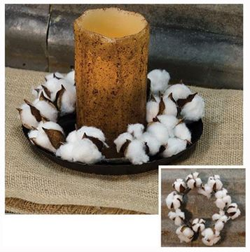 "Picture of Cotton Boll / Ball - White Candle Ring / Wreath 4"" Inner Diameter"