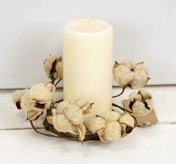"Picture of Cotton Boll / Ball - Tea Stained Candle Ring / Wreath 3.5"" Inner Diameter"