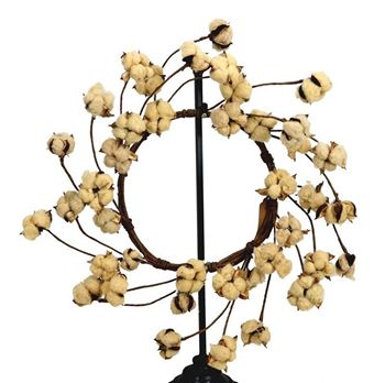 "Picture of Cotton Boll / Ball - Tea Stained Wreath 22"" Diameter"