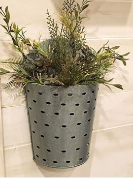 Picture of Galvanized Metal Olive Bucket Wall Pocket / Bin large