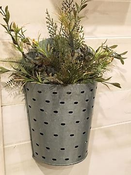 Picture of Galvanized Metal Olive Wall Bucket Large