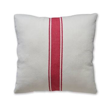 "Picture of Grain Sack Stripe In Red Pillow 20"" X 20"""