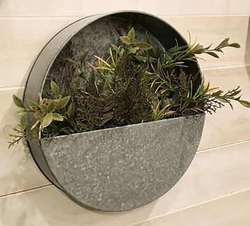 "Picture of Galvanized Metal Wall Pocket / Bin 12"" Round"