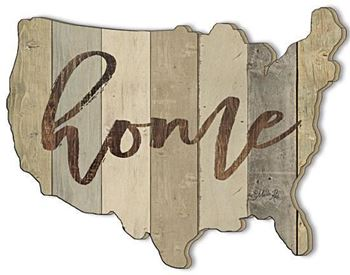 Picture of Home By Marla Rae Laser Cut Plaque USA Shape