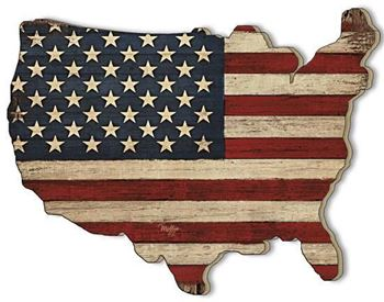 Picture of Old Glory By Mollie B Right Laser Cut Plaque USA Shape