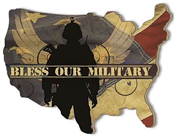 Picture of Bless Our Military By Marla Rae Laser Cut Plaque U S A Shape