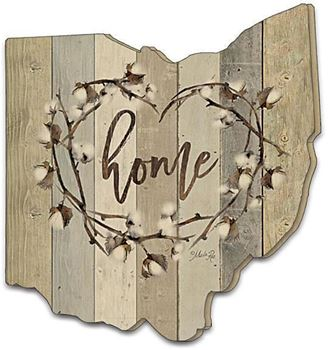 Picture of Home Cotton Wreath By Marla Rae Laser Cut Plaque Ohio Shape