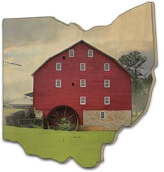 Picture of Willow Grove Mill By Lori Deiter Laser Cut Plaque Ohio Shape