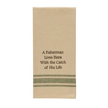 Picture of A Fisherman Lives Here Decorative Towel