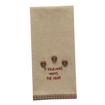 Picture of A Kind Word Warms The Heart Guest Towel