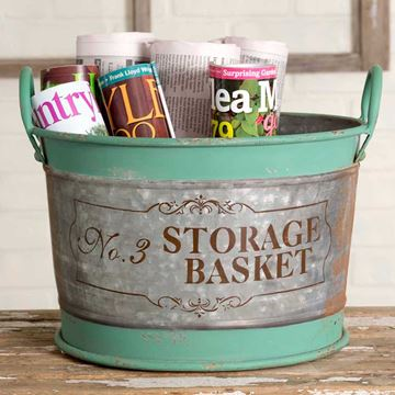 "Picture of Green Metal "" No. 3 Large Storage Basket""  Pail / Bucket With Handles"