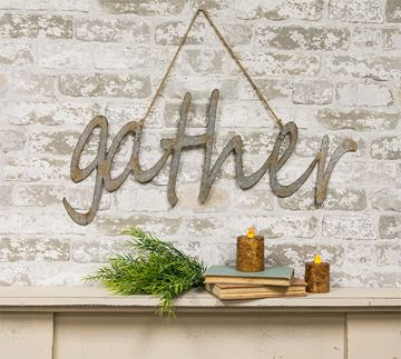 "Picture of Gather Sign - Laser Cut Metal 28"" W"
