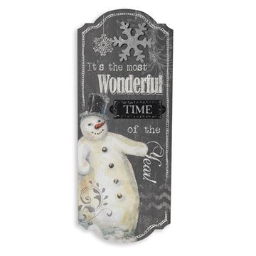 "Picture of It's The Most Wonderful Time Snowman Sign - Painted Wood 23.5"" H"