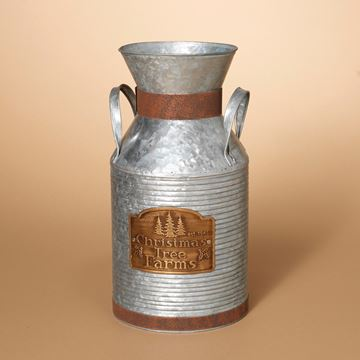 "Picture of Distressed Galvanized "" Christmas Tree Farms"" Milk Can Milk Can Large 15.25"" H"