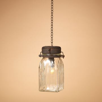 "Picture of Metal & Glass - Hanging Lantern Battery Operated - 9.25"" H"