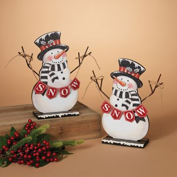 Picture of Wood Holiday Snowman Table Top Figurine - Set Of 2