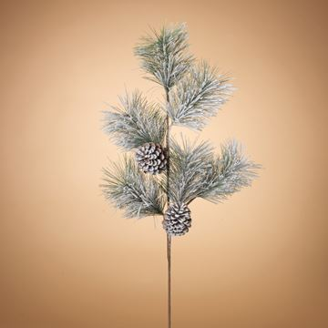 "Picture of Holiday Snow & Pinecones Pine Needle Pick / Spray 36"" High"