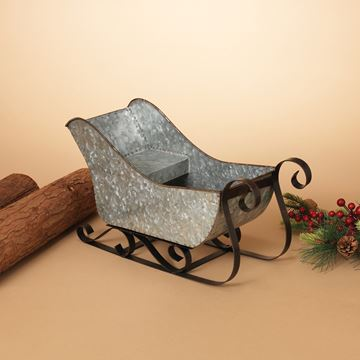 "Picture of Galvanized Metal Sleigh 15.75"" L"