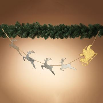 "Picture of Metal Santa & Deer Silhouette Garland 60.25"" L"