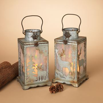 Picture of Galvanized Metal Holiday Deer Lantern For Pillars - Set Of 2 - Assorted