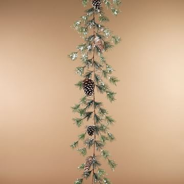 Picture of Holiday Snowy Ming Pine With Pine Cones Garland 5' L