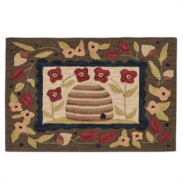 "Picture of Bee Skep Hooked Rug Rectangle 24"" X 36"""