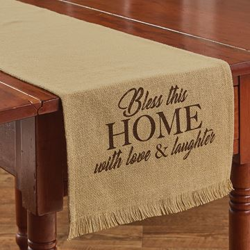 "Picture of Bless This Home Printed Burlap Table Runner 54"" Long"