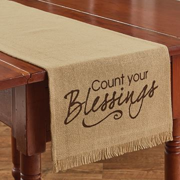 "Picture of Count Your Blessings Printed Burlap Table Runner 54"" Long"