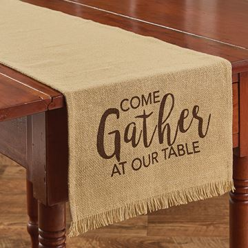 "Picture of Come Gather Jute Printed Burlap Table Runner 54"" Long"