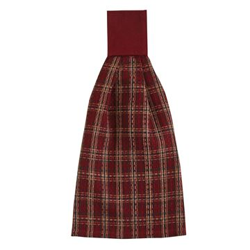 Picture of Cranberry Plaid Waffle Weave Hand Towel