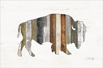 Picture of Wood Slat Bison By Marla Rae Art Print - 12 X 18