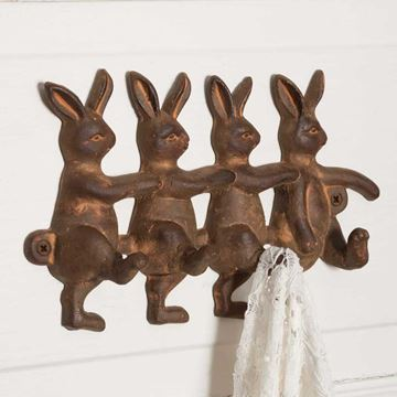 Picture of Four Rabbits Distressed Decorative Hook 4 Hooks