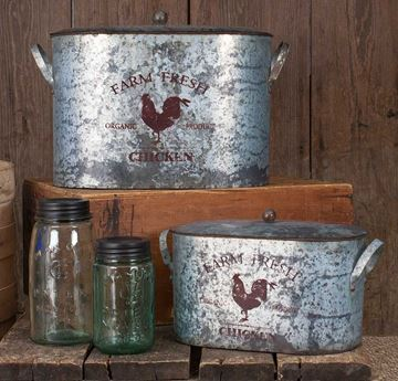 Picture of Galvanized Farm Fresh Rooster Pail / Bucket With Lid - Set Of 2