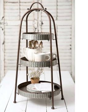 Picture of Galvanized Metal Stand For Display & Serving Round - 3 Tier