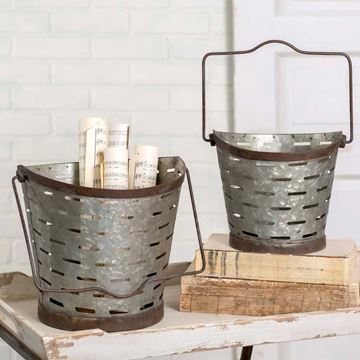 Picture of Olive Pail / Bucket Round  Folding Handles - Set Of 2
